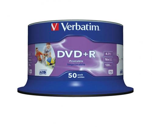 VERBATIM DVD-Rohlinge - bedruckbar/inkjet printable weiss - DVD+R 4,7GB - 50 Stück (DVD-Rohlinge bedruckbar)