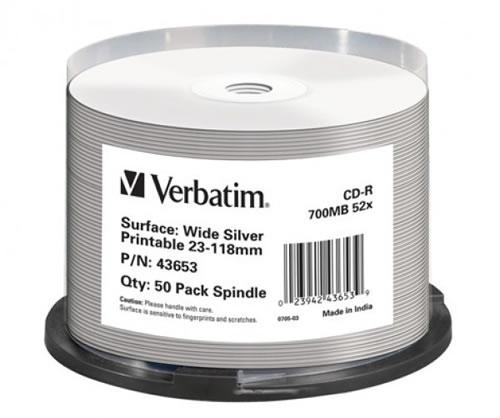 VERBATIM CD-Rohlinge - bedruckbar/inkjet printable silber - 50 Stück - NoID (CD-Rohlinge bedruckbar)