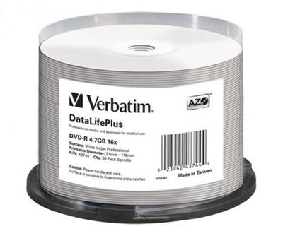 VERBATIM DVD-Rohlinge - bedruckbar/inkjet printable weiss - DVD-R 4,7GB - 50 Stück (DVD-Rohlinge bedruckbar)