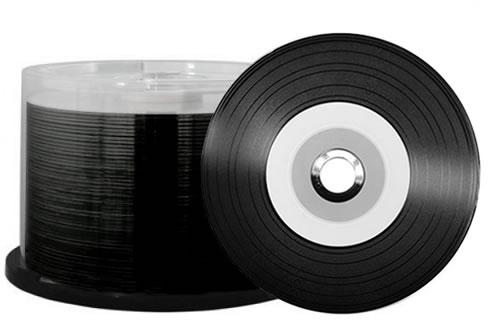 CD-Rohlinge Vinyl Carbon - bedruckbar/inkjet printable weiss - Brennseite schwarz- 50 Stück (CD-Rohlinge farbig)