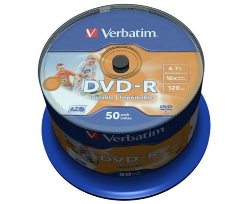 VERBATIM DVD-Rohlinge - bedruckbar/inkjet printable weiss - DVD-R 4,7GB - 50 Stück - NoID (DVD-Rohlinge bedruckbar)