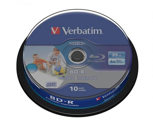 VERBATIM Blu-Ray-Rohlinge bedruckbar/inkjet printable - BD-R SL 25GB/6x - 10 Stück (Blu-Ray-Rohlinge)