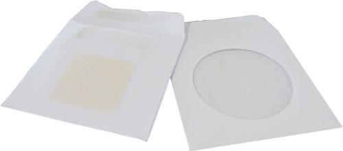 DVD-Papierhüllen mit Fenster & Klebepunkt - weiss - 50 Stück (DVD-Papierhuellen)