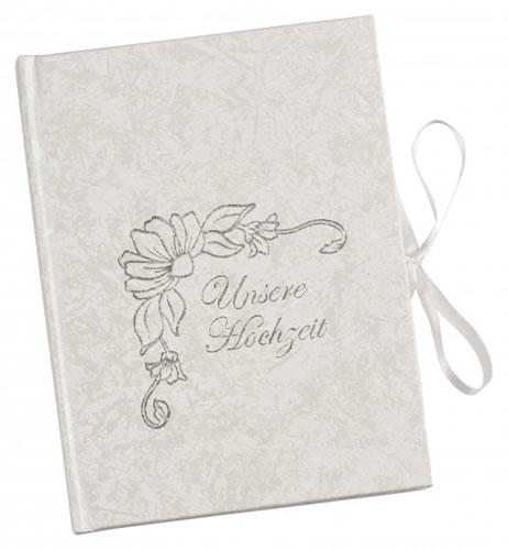 CD Art Box - weiss - mit Schriftzug Unsere Hochzeit - für zwei CDs (CD-Mehrfachboxen)