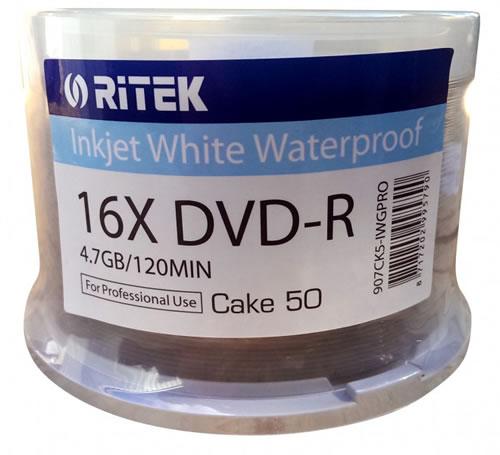 RITEK Aqualock DVD-Rohlinge - bedruckbar/inkjet printable weiss - DVD-R 4,7GB - wasserabweisend - 50 Stück (DVD-Rohlinge bedruckbar)